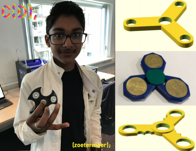 OpenSCAD fidget spinner (3D printed)